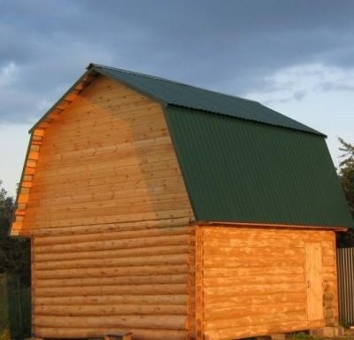 Рубленная баня 6х6 ломаная крыша