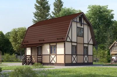 Дом 7х8, мансарда (каркасный, брусовый, толщина стен 150 мм)