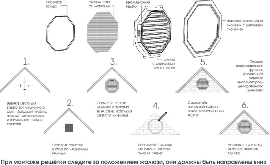 Восьмиугольная фронтонная вентиляционная решетка