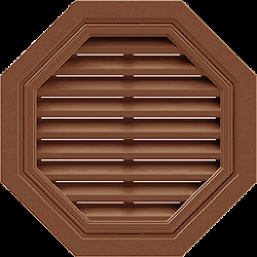 Восьмиугольная фронтонная вентиляционная решетка - Коричневая