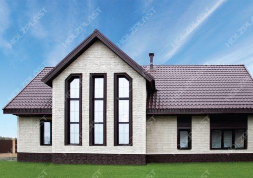 Фасад Скол Белый, Цоколь Туф Темно-коричневый