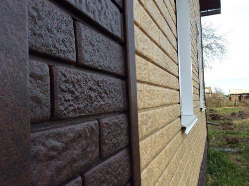 Сайдинг Стоун-хаус кирпич песочный и кирпич коричневый