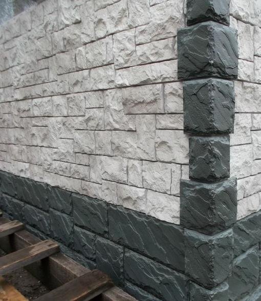 Фасадные панели FineBer Крупный камень Серо-зелёный